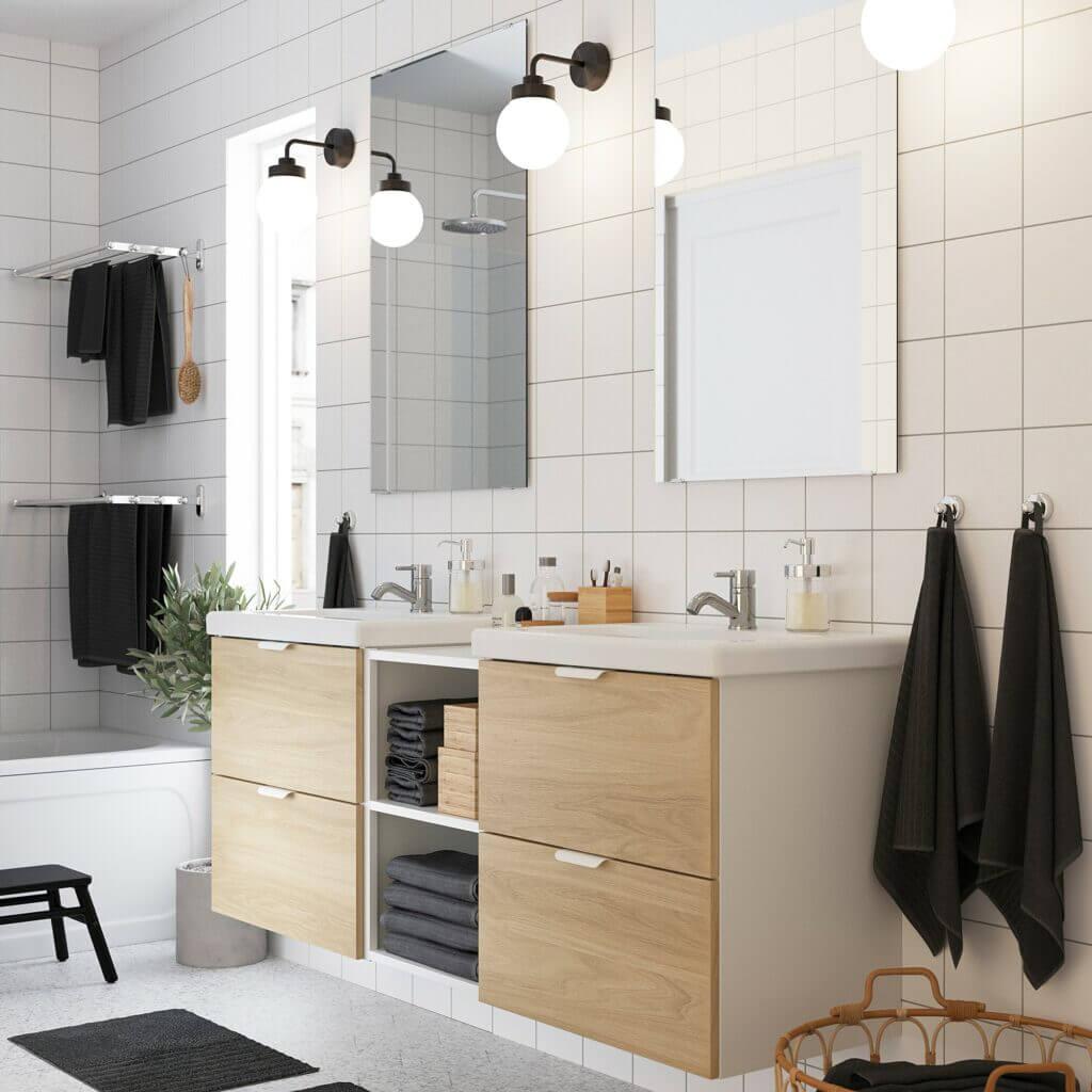 Badezimmerset skandinavischer Landhausstil doppelt