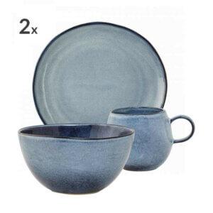 Bloomingville Geschirrset Frühstück Sandrine blau