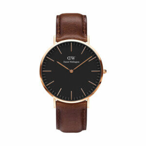 Daniel Wellington Uhr Classic schwarz mit braunem Lederband