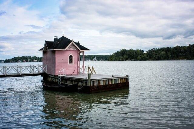 Finnische Sauna Häuschen am See