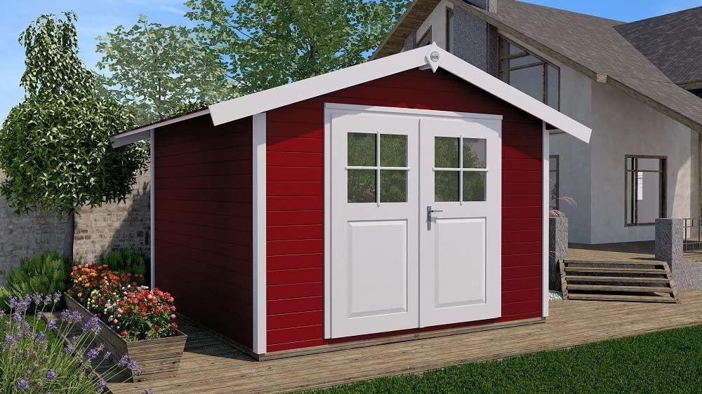 Gartenhaus rot-weiß Massivholz Metall