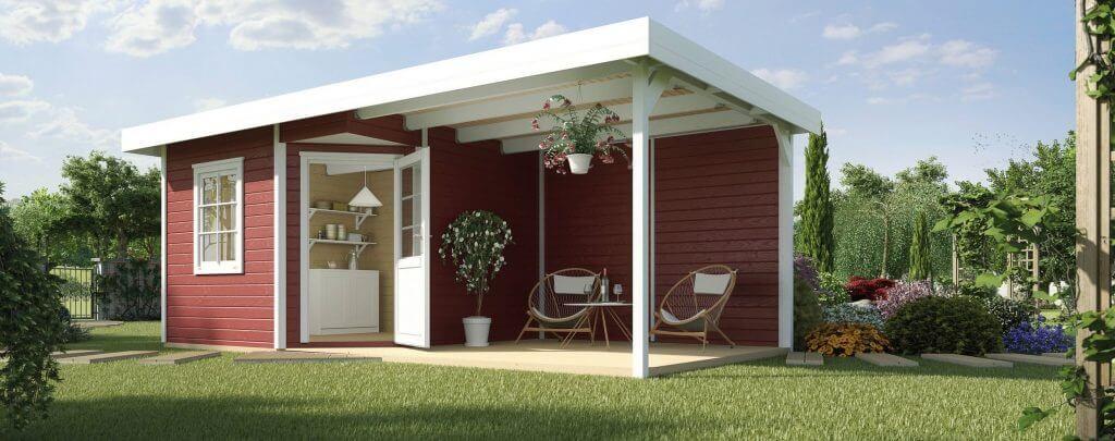 Gartenhaus Schwedenrot Terrasse mit Sitzecke