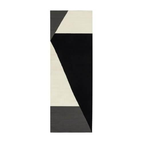 Stripes blocks Kelim Teppich schwarz