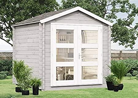 Gartenhaus Schwedengrau Glastür