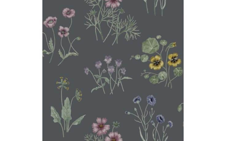 Dunkle, skandinavische Blumentapete