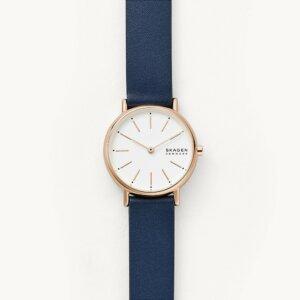 Skagen Uhr Signatur blaues Lederarmband