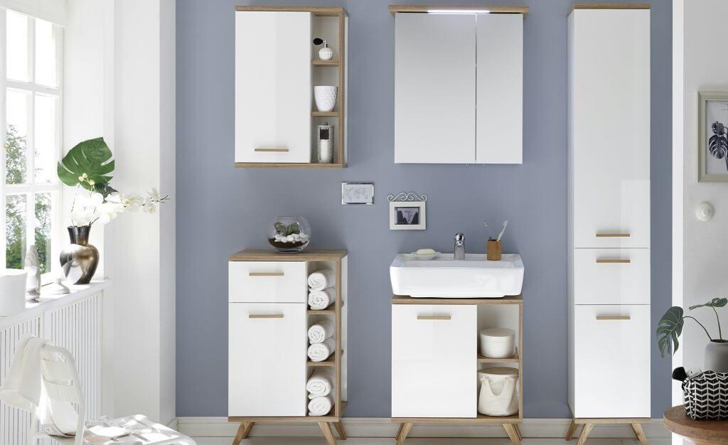 Skandinavische Badmöbel Kombination Holz weiß