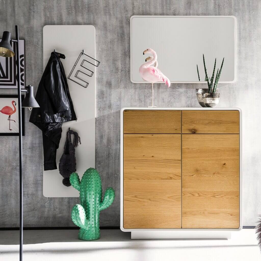 Skandinavische Garderobe Set weiss Asteiche