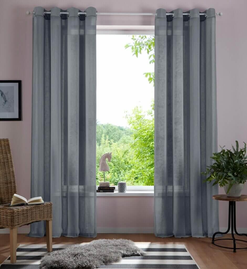 Skandinavische Gardine Schlafzimmer grau transparent Leinenoptik
