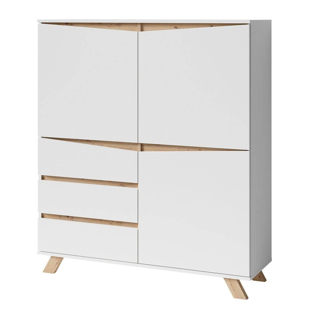 Skandinavische Highboards Weiß und Holz mit Schubladen