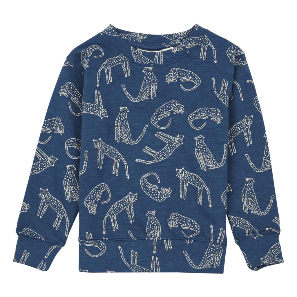 Soft Gallery Sweatshirt Baptiste Leoparden Bio-Baumwolle Blau