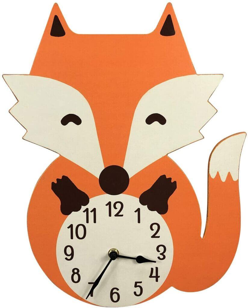 Skandinavische Wanduhr für Kinder Fuchs