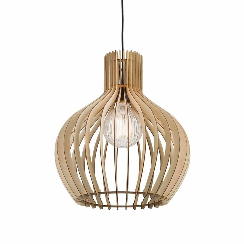 Skandinavische Pendelleuchten – Offene Holzlampe