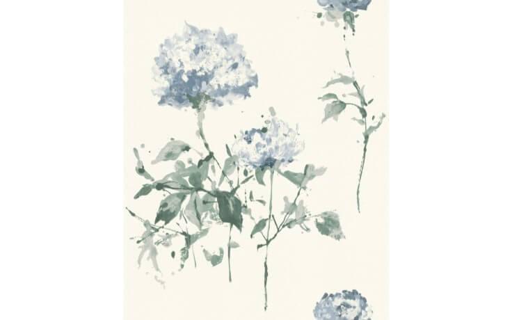 Schwedische Tapete mit blauem Floralmuster