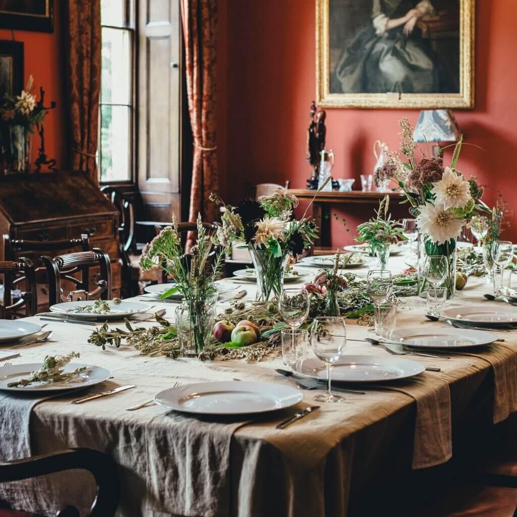 Skandinavische Tischdecke aus Leinen