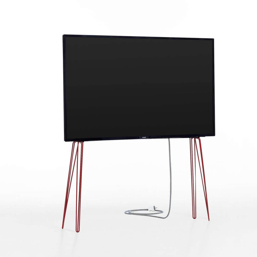Skandinavischer TV-Ständer modern Stahl rot