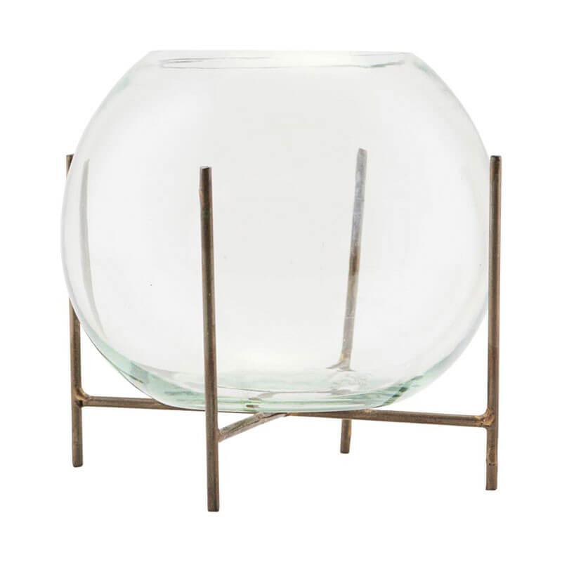 Skandinavische Vasen Glas Kugelvase Ständer