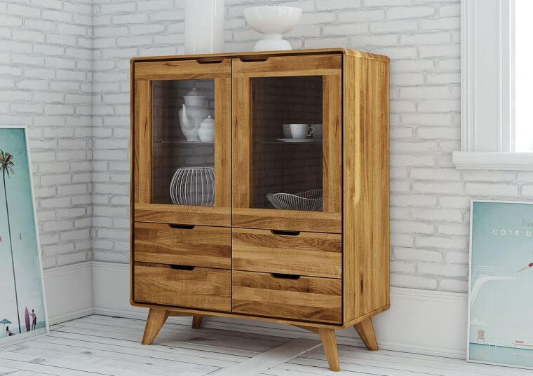 Skandinavisches Highboard Vitrine Massivholz Wildeiche