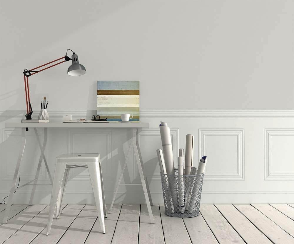 Skandinavische Wandverkleidung Kassettenoptik Weiß