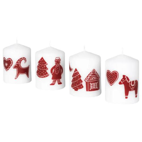 Skandinavische Weihnachtsbeleuchtung Kerzen mit Weihnachtsmotiv