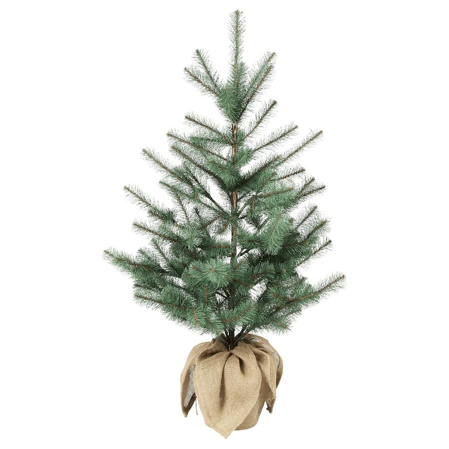 Skandinavische Weihnachtsdeko Weihnachtsbaum künstlich in Jutebeutel