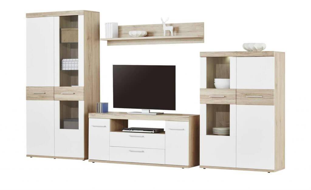 Skandinavische Wohnwand Weiß, helles Holz