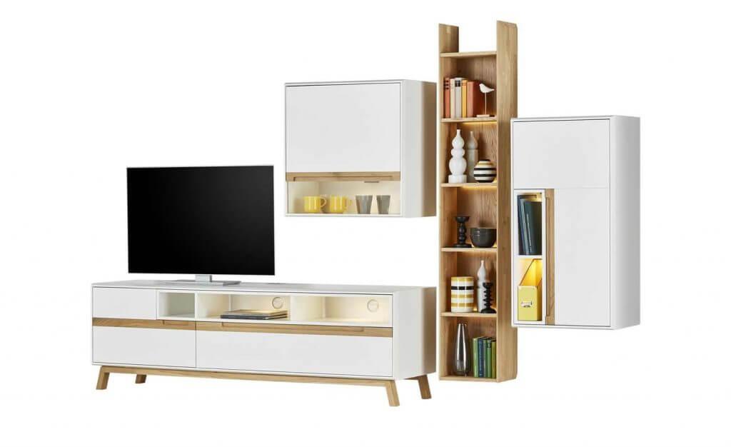 Skandinavische Wohnwand Weiß Holz
