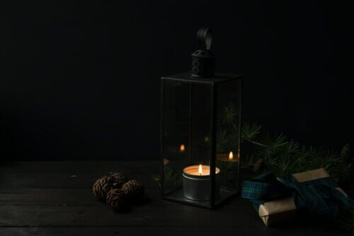 Skandinavischer Adventskranz Glaskasten