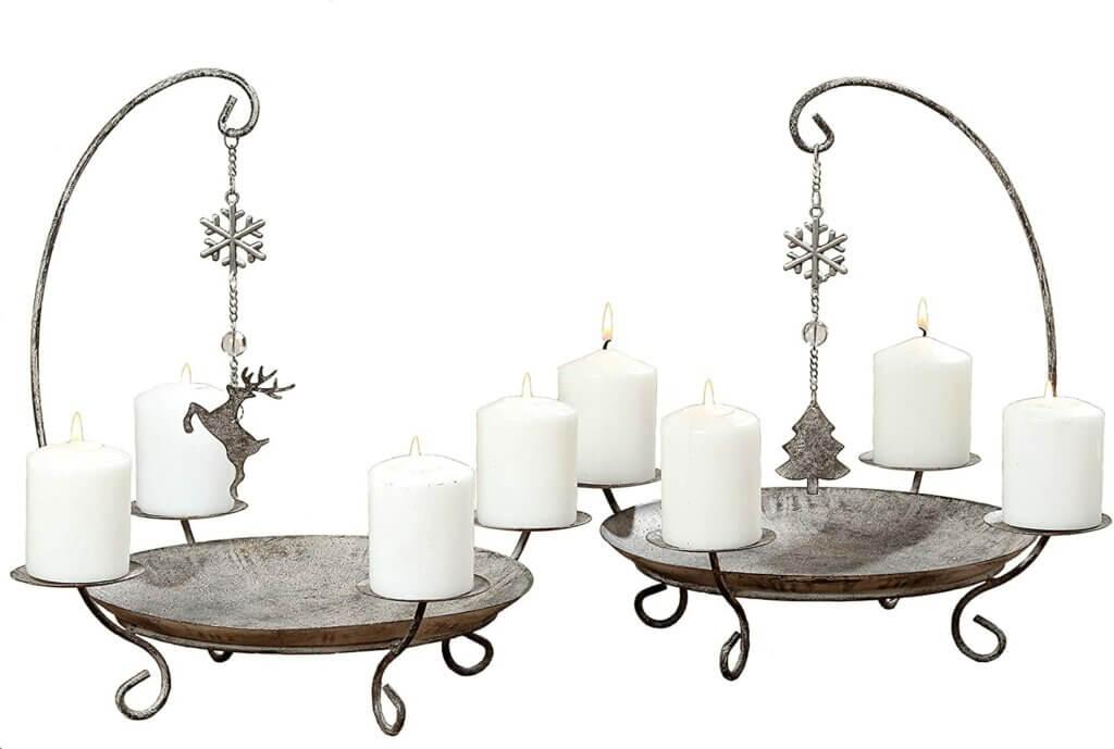 """Adventskranz """"Kerzenhalter Belluno"""" mit Rentier und Weihnachtsbaum"""
