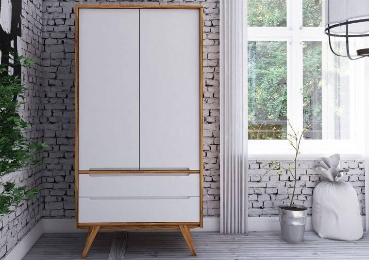 Skandinavischer Kleiderschrank Massivholz weiß