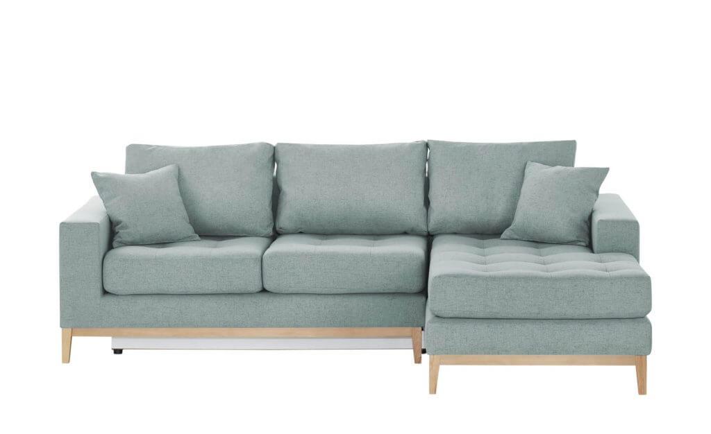 Skandinavisches Sofa mit Schlaffunktion hellblau