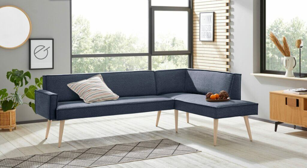 Skandinavisches Tischsofa Webstoff blau