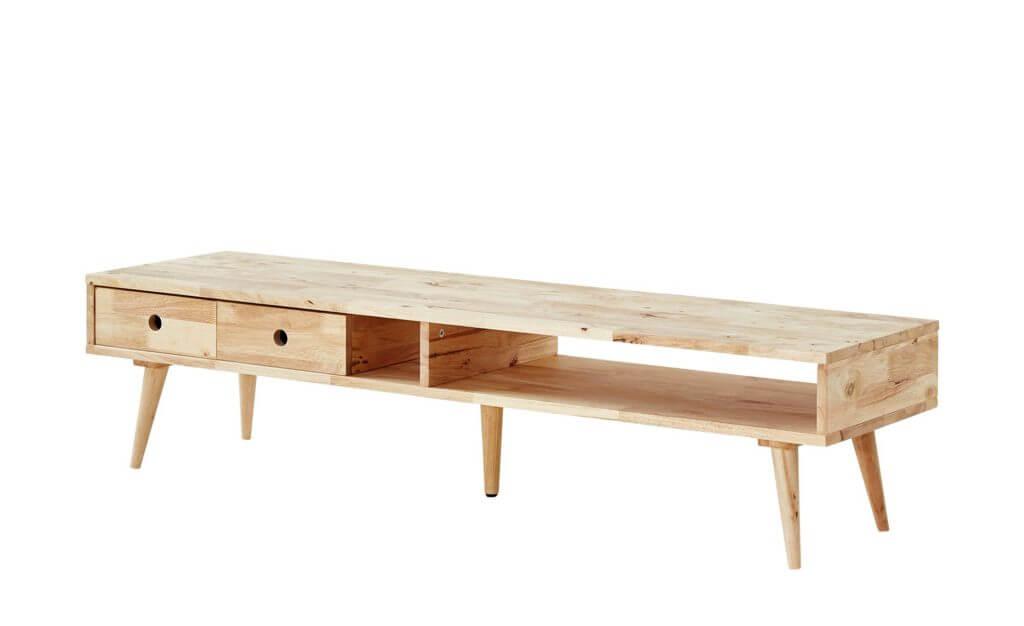 Wohnzimmer skandinavisch einrichten Lowboard aus Holz